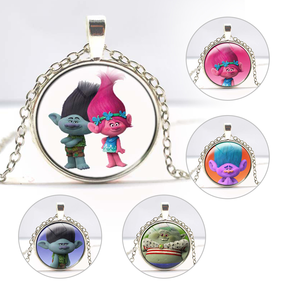 Movie Trolls Metal Pendant necklace chain Trolls silver glass Chaveiro Llavero Figure Model toys Wholesale Free shipping