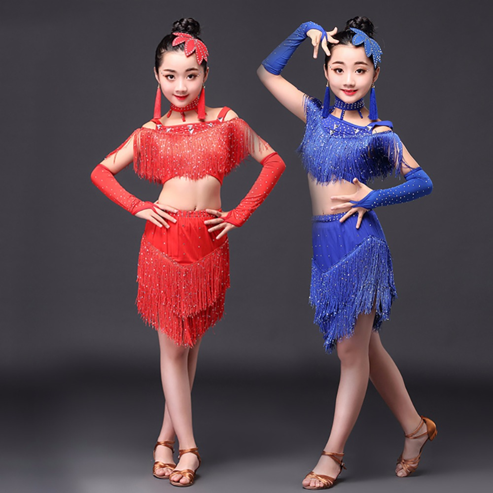 2017 Hot Girls Latin Dance Costumes 5Pcs Tutu Skirt 120-155cm Spandex Salsa Dress Children Samba 6-15 Years Kids