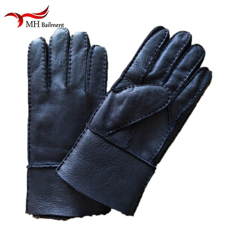 Hommes D'hiver de Gants offre spéciale de qualité supérieure Hommes Gants En Cuir Nouveau Homme D'hiver De Fourrure gants chauds en peau de Mouton En Cuir gants fourrés