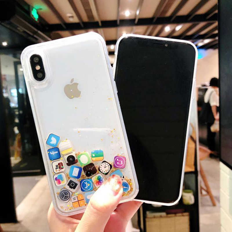 Ngộ Nghĩnh Ứng Dụng Biểu Tượng Lấp Lánh Sao Ốp Lưng Điện Thoại Iphone 11 Pro X XS Max XR Năng Động Chất Lỏng QuickSand Dành Cho iPhone 5SE 8 7 6 S Plus