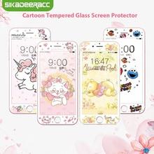 Unicorn Tempered Glass Screen Protector For iPhone 7 8 Plus 6 6s Elmo Cat Cute Cartoon Kitty 3D 9H HD Full Cover Film SJ40