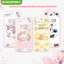 Unicorn Tempered Glass Screen Protector For iPhone 7 8 Plus 6 6s Plus Elmo Cat Cute Cartoon Kitty 3D 9H HD Full Cover Film SJ40(China)