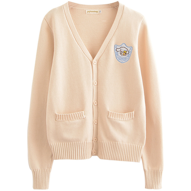 Cartoon embroidery Big ear dog Cherry pink/Almond/Water Blue Soft Knitted cotton sweater long-sleeved cardigan uniform cos JK 4
