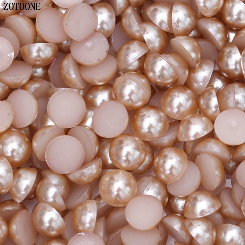 ZOTOONE 1000 шт 2-6 мм перламутровая отделка Steentjes поделки из смолы полукруглые жемчужные бусины с плоской задней поверхностью жемчужные бусины для дизайна ногтей DIY украшения B - Цвет: LightCoffee