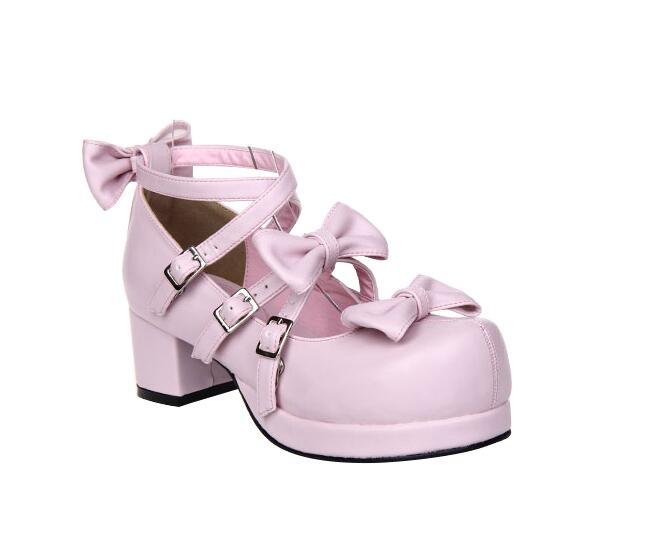 Cosplay Mujeres Partido 33 Lolita Vestido Tacones Angelical Chica 47 Altos Señora Mujer Impresión Princesa Zapatos Mori Bombas Rosa 6qpPxHwI