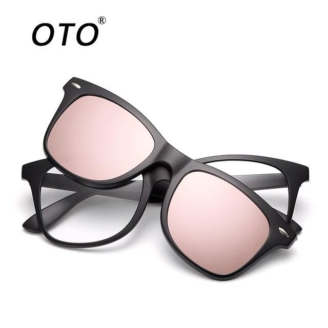 Magnético 5 Piezas Polarizadas Clip en Gafas de Sol Marco Plástico Para Conducción Nocturna oMWiMVta
