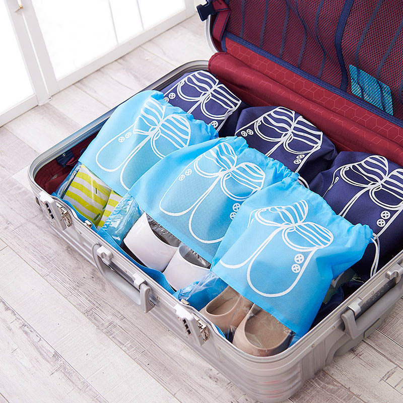 5Pcs Set Thick Travel Storage Shoe Bag Portable Organizer Tote with Drawstring TC21