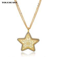 Toucheart Золотая Звезда длинные подвески и ожерелья из нержавеющей