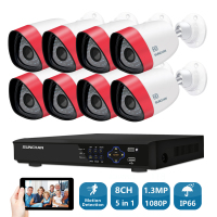 SUNCHAN HD 1 3MP AHD 1500TVL Outdoor CCTV Surveillance System 8CH 1080P AHD DVR Hybrid Kit