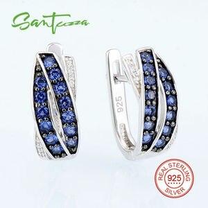 Image 2 - SANTUZZA ensemble de bijoux pour femmes pur 925 argent Sterling bleu Nano cubique zircone pierres boucles doreilles ensemble de bagues délicate Fine bijoux