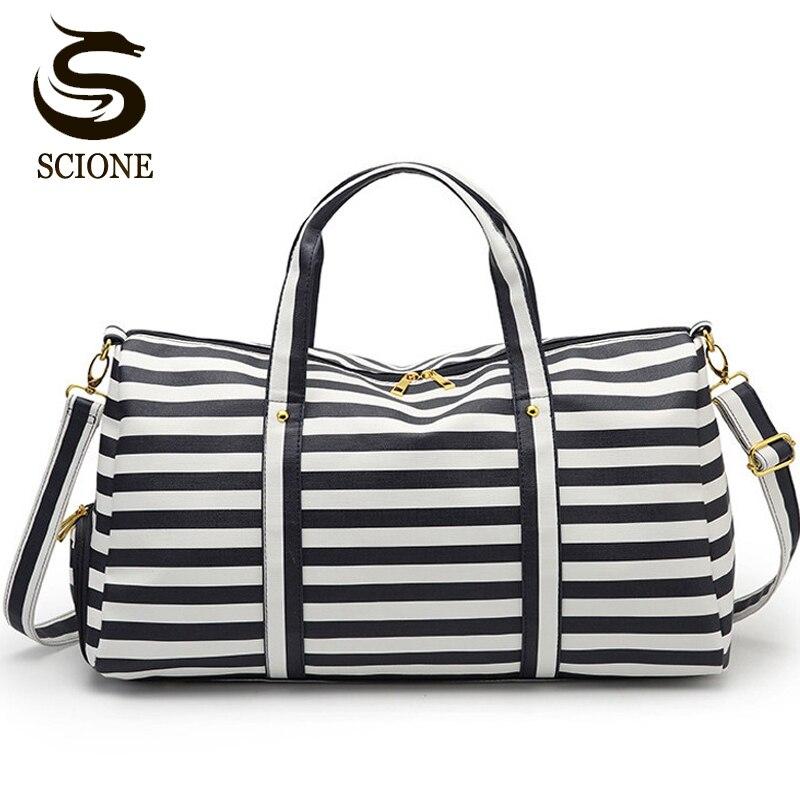 Scione PU Leather Travel Bag Men/Women Waterproof Travel Duffle Bag Male Shoulder Bags Duffel Tote For Men Female Luggage Bags