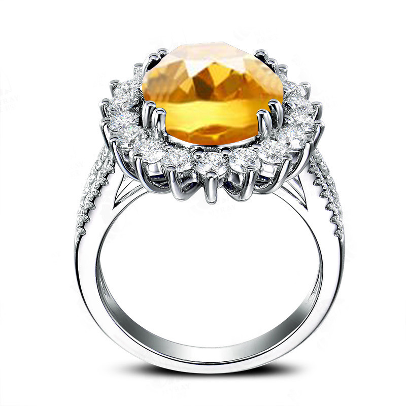 AINUOSHI Big Natural Citrine Flower Ring 5 Carat Oval Cut Gemstone 925 Sterling Silver Ring Engagement Party Jewelry Women Ring