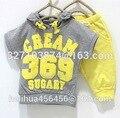 Chicas Retail chicos ropa de bebé establece crema 369 manga corta Hoodies + pantalones trajes del deporte 2 unids embroma el sistema de la ropa los niños nave rápida