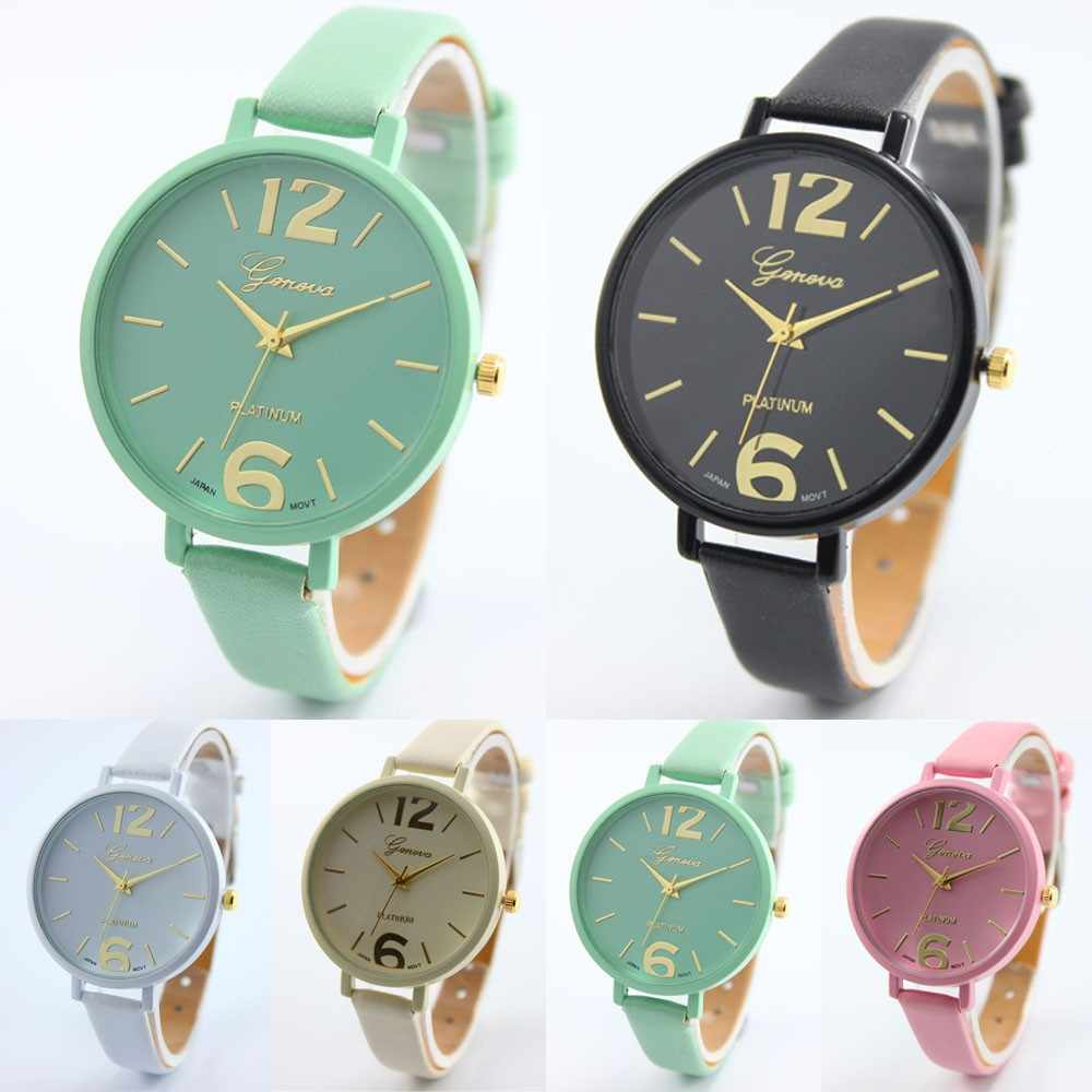 2018 New Fashion Brand watches women luxury watch Geneva Women Faux Leather Analog Quartz Wrist Watch relojes mujer Gift