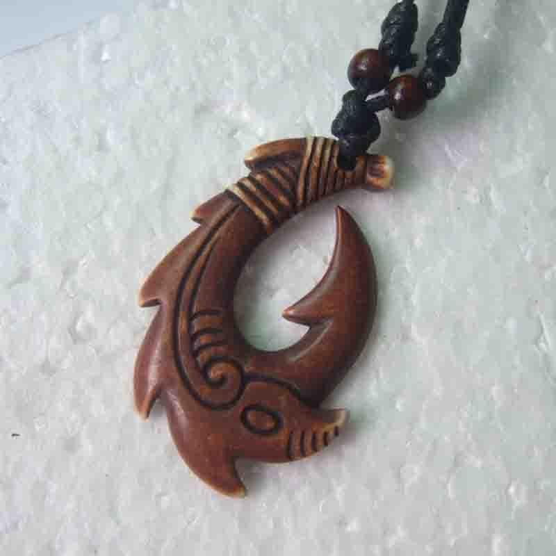 New fashion 1pcs carved yak bone fish hook pendant new for Fish bone necklace