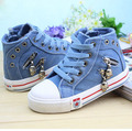 2016 New Arrival Size 25-37 Kids Canvas Sneakers Boys Flats Girls Denim Boots Children Casual Jeans Plimsolls Sports Shoes,YJ021
