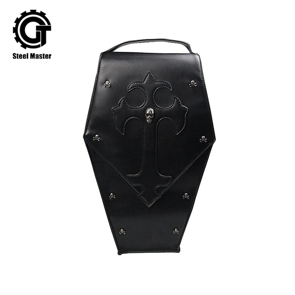 Steel Master Steampunk Skull Women Shoulder Bags Black PU Soft Face Female Handbags Punk Personality Leather