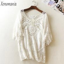 Blusa De Frio White Lace Blouse Women Blouses Crochet Top 2017 Kimono Shirt Plus Size Boho Blusas Camisa Feminina Embroidery New