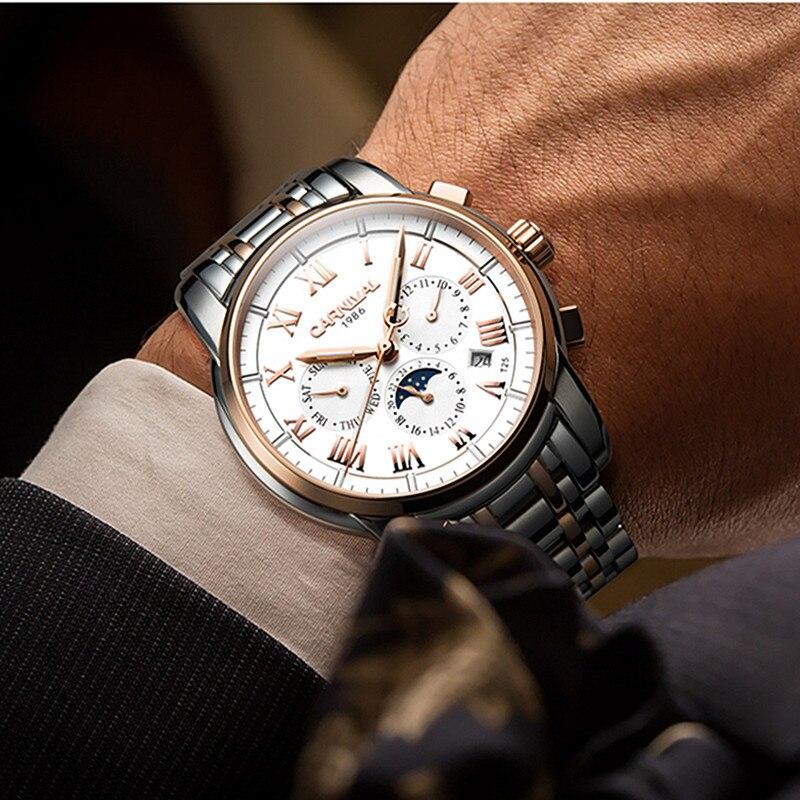 T25 Тритий газ светящиеся механические часы для мужчин карнавал полная сталь многофункциональные автоматические наручные часы Мужские часы reloj hombre - 5