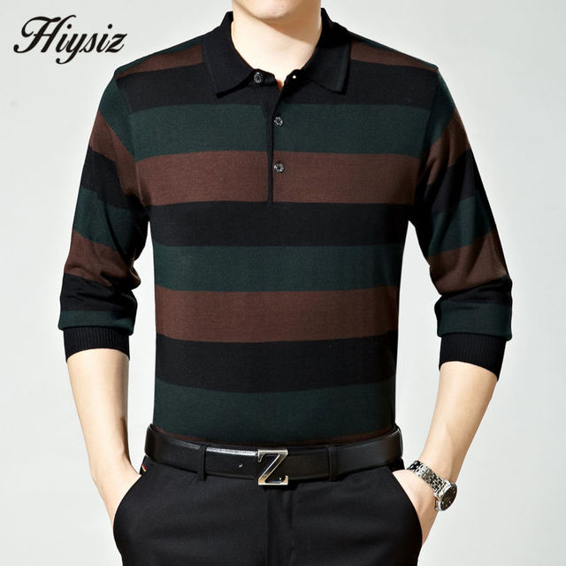 Top Quality Fall Dress Long Sleeve Cashmere Sweater Shirt Men Wool Pullover Men Casual Striped Turn-down Collar Pull Homme 66110