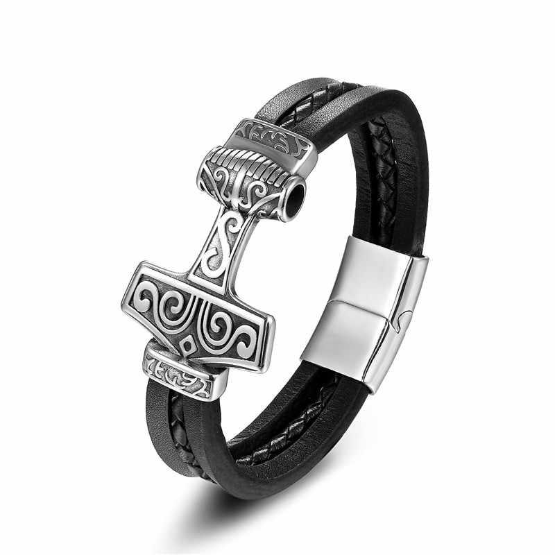 MKENDN 2017 mężczyzn ze stali nierdzewnej wilk młot thora bransoletka skórzana Punk Style komunikat bransoleta magnetyczna biżuteria prezent