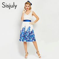 Sisjuly Summer Dress Vintage Dresses Vestidos Flower Print Retro Elegant V Neck Sleeveless Clothing For Women