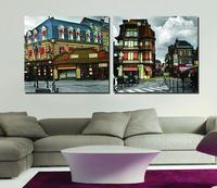 Zero Profit Selling City Impression Art 2pcs Modular Picture European Style Architecture Painting Modern Decorative Paintings