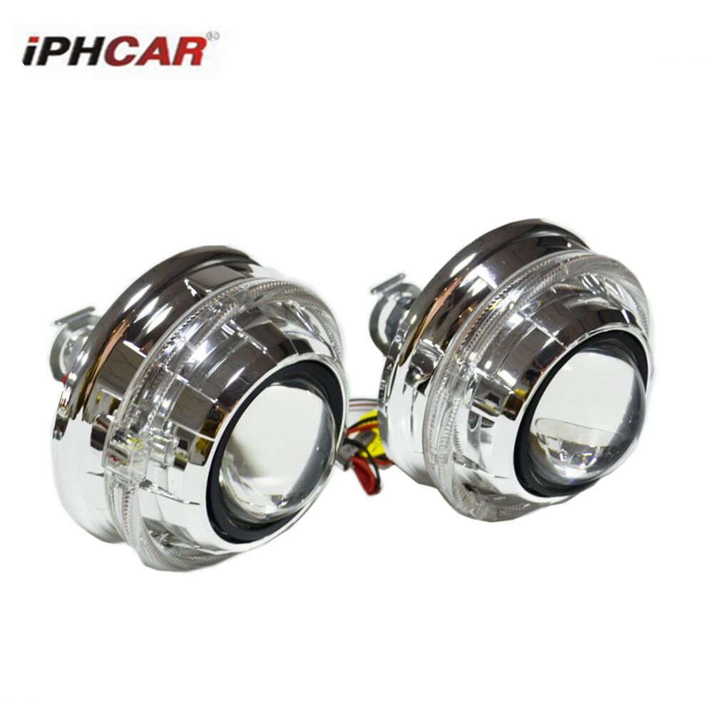 2 pcs 2.5 inch bixenon hid car Projector lens fit for H1 H4 H7 car day running angel eyes headlight Headlamp car assembly kit safego 2 5 inch projector lens mask shroud with double angel eyes for car hid headlight headlamp projector lens for h1 h7 h4