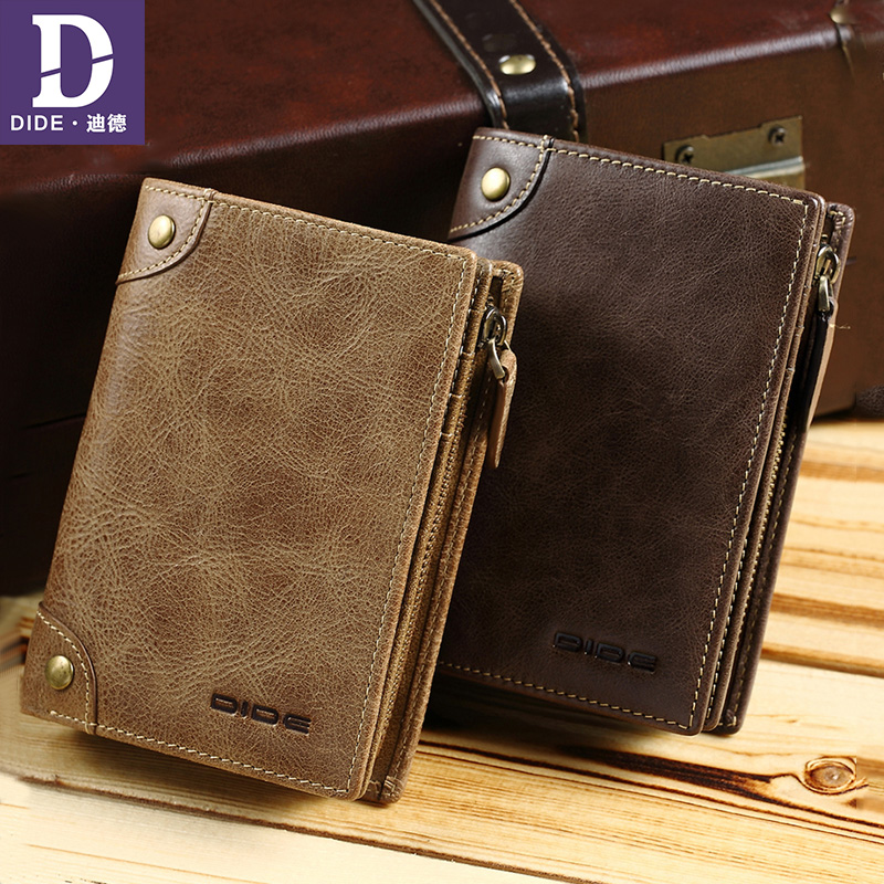 DIDE Purse Clutch Wallet Genuine-Leather Card-Holder Short-Style Zipper Men's High-Quality