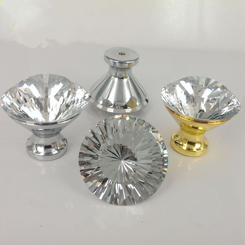 40mm rhinestone dresser door handles knobs silver golden drawer cabinet pulls knobs modern fashion glass crystal furniture knobs 33mm glass kitchen cabinet handles clear crystal drawer knobs silver tv table dresser cuoboard furniture door pulls knobs