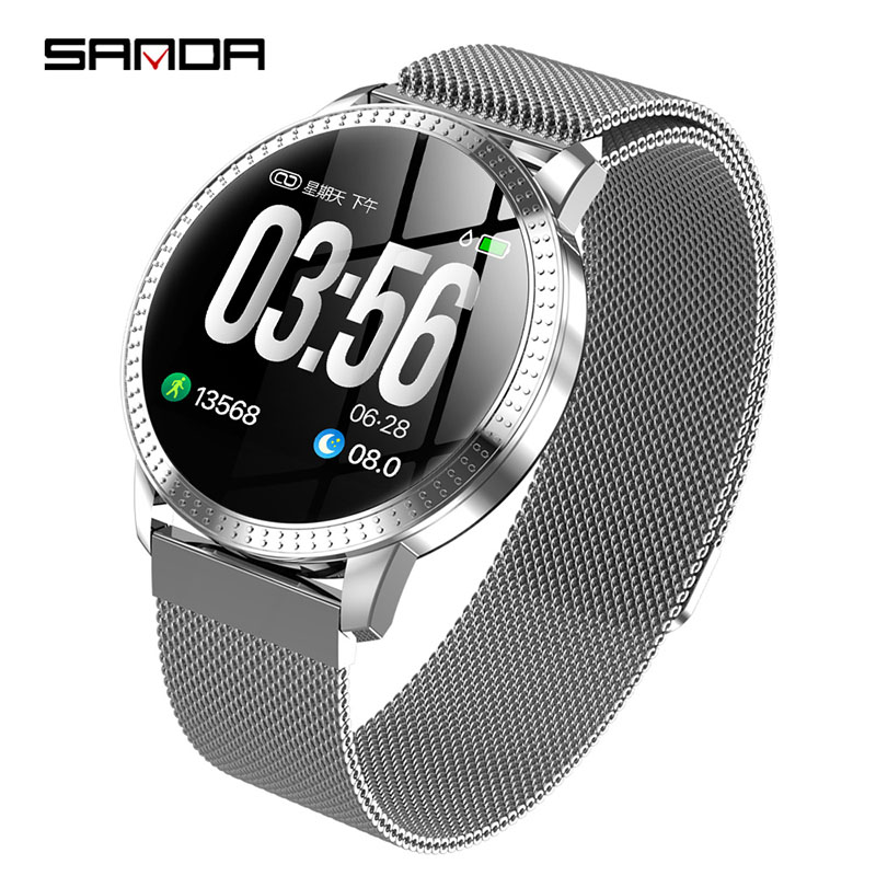 2019New SANDDA smart watch women man business fashion LED display screen multi function watch luxury brand