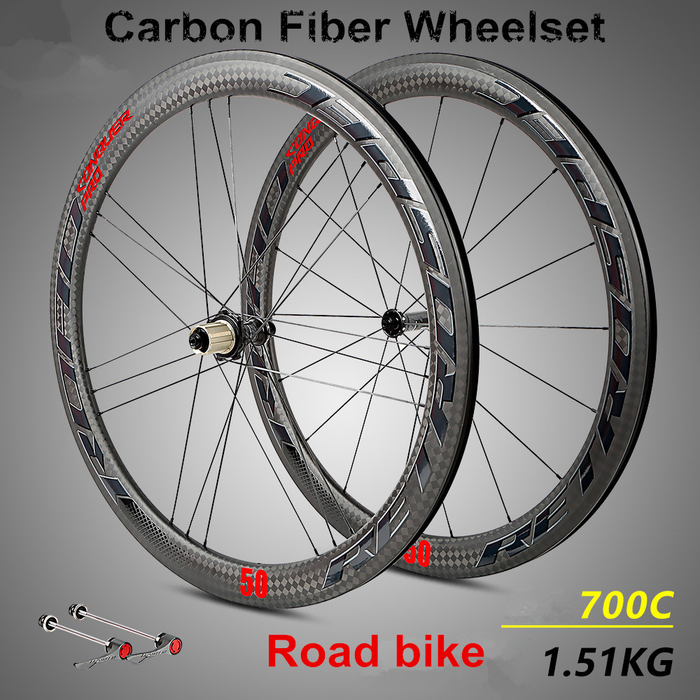 RS-C50 Bicycle wheel 700C Road 12K carbon racing bike wheels 50mm depth Tubular Clincher carbon bicycle rim wheels Wheelset 700c carbon wheelset 50mm u shape wheels for bicycle 25mm tubular roue carbone pour velo route carbon bicycle wheel basalt brake