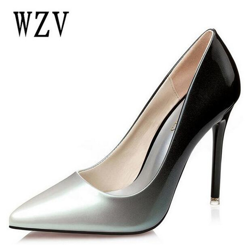 2018 Women pumps Fashion pointed toe patent leather stiletto high heels shoes Spring Summer Wedding Shoes woman high heels B98 цена