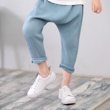 купить Cool Summer Casual Children Cotton And Linen Knickerbockers Capris Kids Bloomers Anti-mosquito Pants Boys Clothes 3-7Y дешево