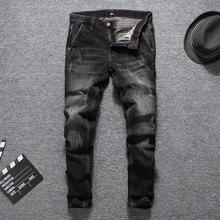 Italian Vintage Style Fashion Men Jeans Black Gray Color Slim Fit Ripped Elastic Hip Hop Denim Pants Classical