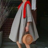 LANMREM 2019 Свободный пуловер с круглым вырезом и воротником, семь частей, рукав, пряность, соединение, женское платье, повседневная женская модн...