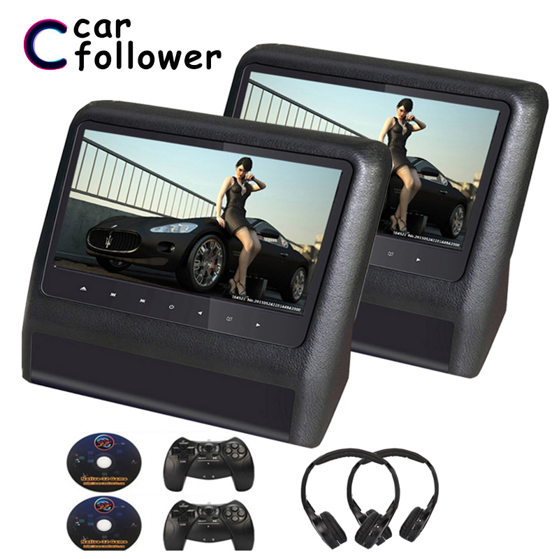 2PCS 9 Inch LCD Screen DVD Car Headrest Monitor USB/SD IR/FM 32-Bit Wireless Games Backseat Displayer MP5 Car Monitors(China)