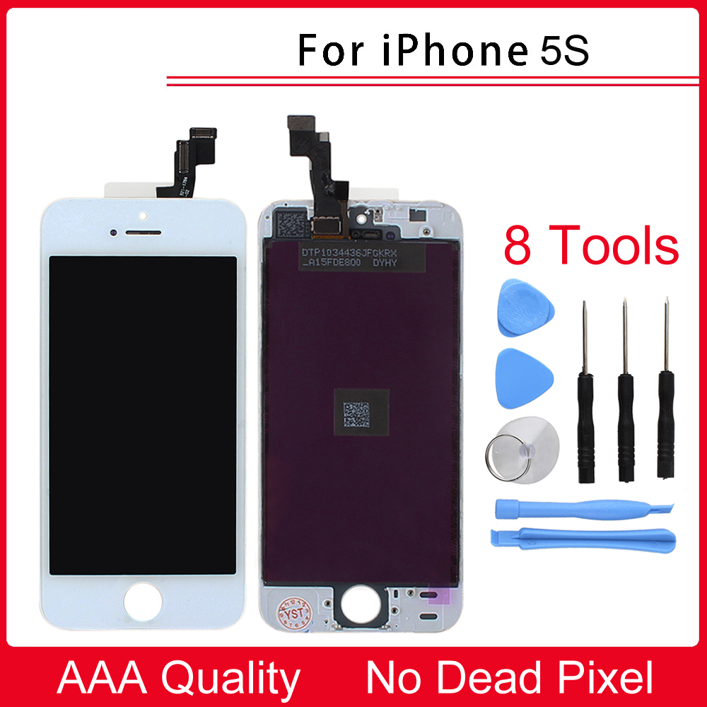 100% New White/Black LCD Display for iphone 5S with Touch Screen Digitizer Assembly Replacement + Repair Tool + Retail Box new white lcd display touch screen digitizer replacement repair frame assembly for apple iphone 5s smart phone
