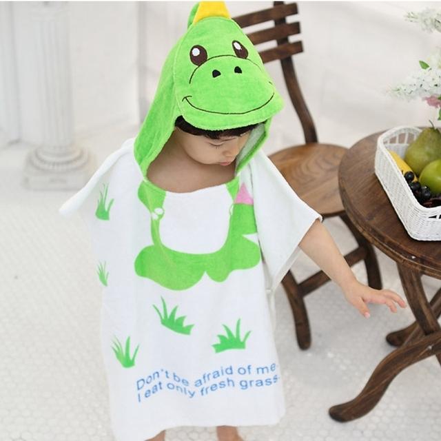Chegada nova bonito dos desenhos animados teste padrão animal do bebê com capuz roupão de banho para bebê meninos meninas macios crianças crianças infantil roupão de banho towel
