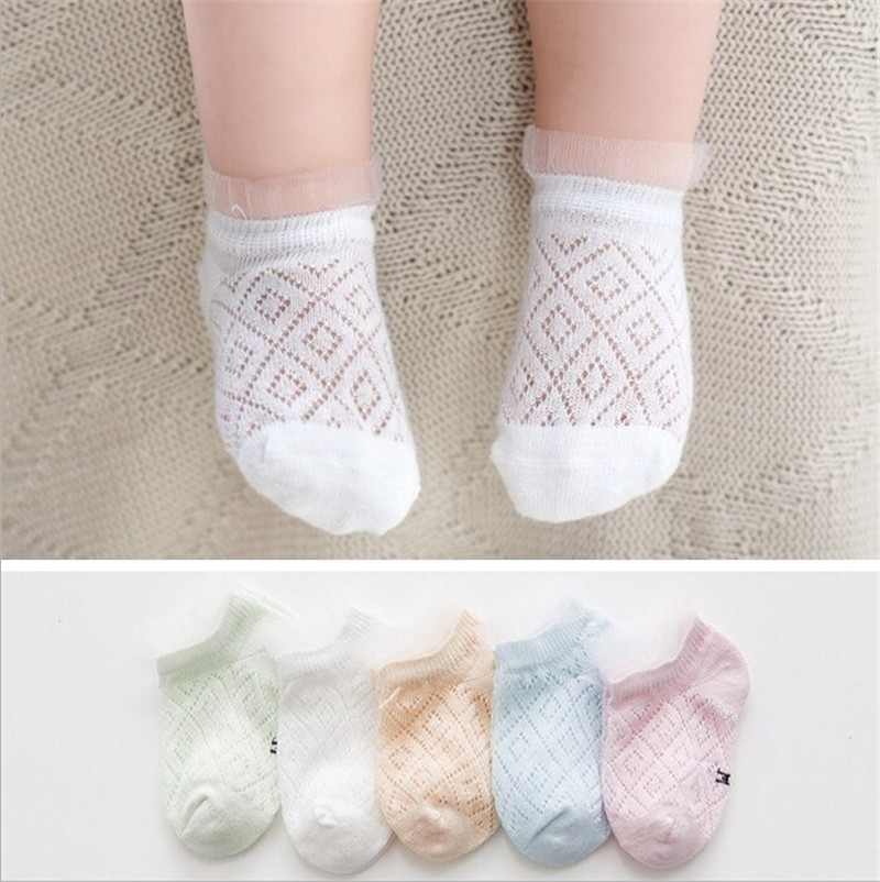 5pcs\set Lace Socks For Girl Age 0-5Y Summer Baby Kids Socks Toddlers Girls Mesh Socks Short Breathable Hollow Out Baby Clothing