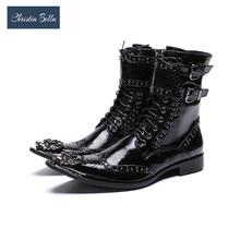 Christia Bella/роскошные мужские ботинки до середины икры в британском стиле; кожаные ботинки в байкерском стиле; ковбойские ботинки; официальные Мужские модельные ботинки с заклепками