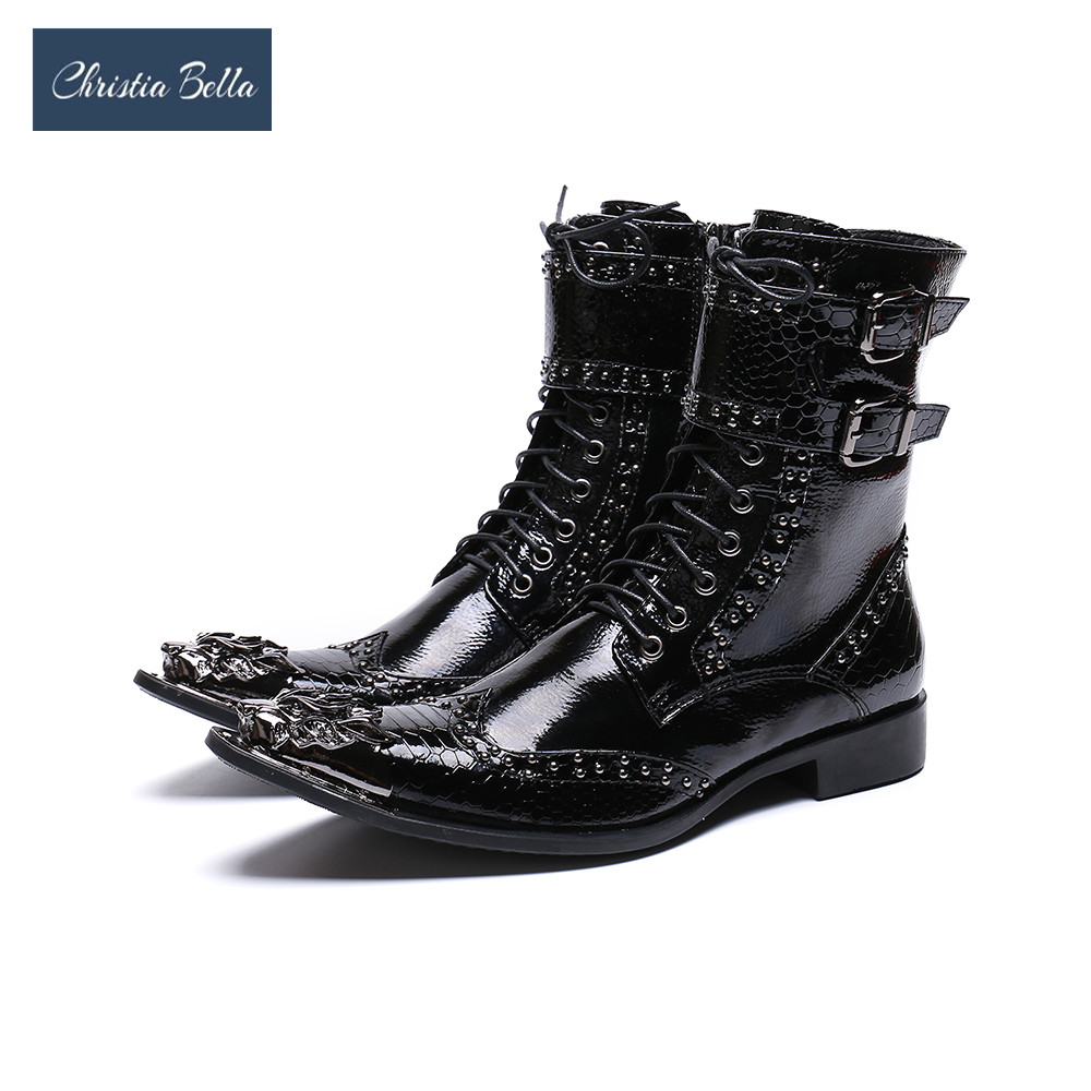 Christia Bella Luxury British Style Men Mid Calf Boots Leather Motorcycle Cowboy Boots Formal Men Brigh Dress Rivets Shoes british style splicing and buckle design mid calf boots for men