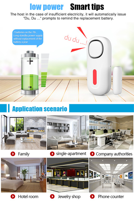 Home Security Door Window Siren Magnetic Sensor Alarm Warning System Wireless Remote Control Door Detector Burglar Alarm