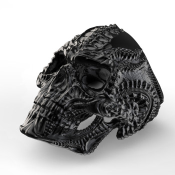 316L Stainless Steel Alien Skull Ring for Men