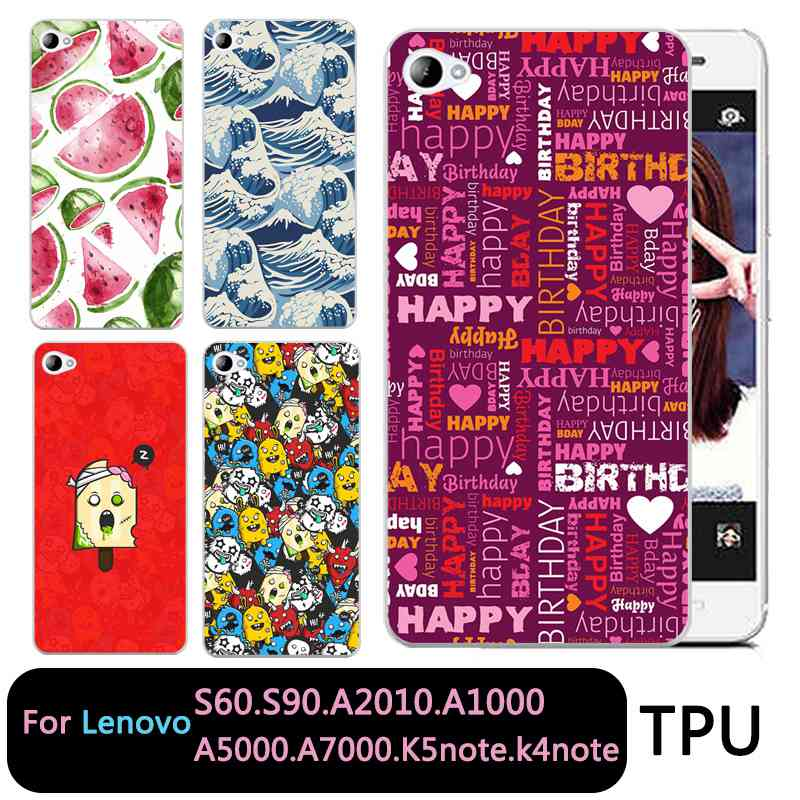 QMSWEI Soft TPU Clear Phone case For Lenovo S60 S90 A2010 a1000 a5000 A7000 k5note k4note k3note Soft Icecream Watermelon Cover
