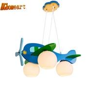 3 Heads Aircraft Led Pendant Lights Glass Boy Room Cartoon Modern Pendant Light Wood Lamp E27