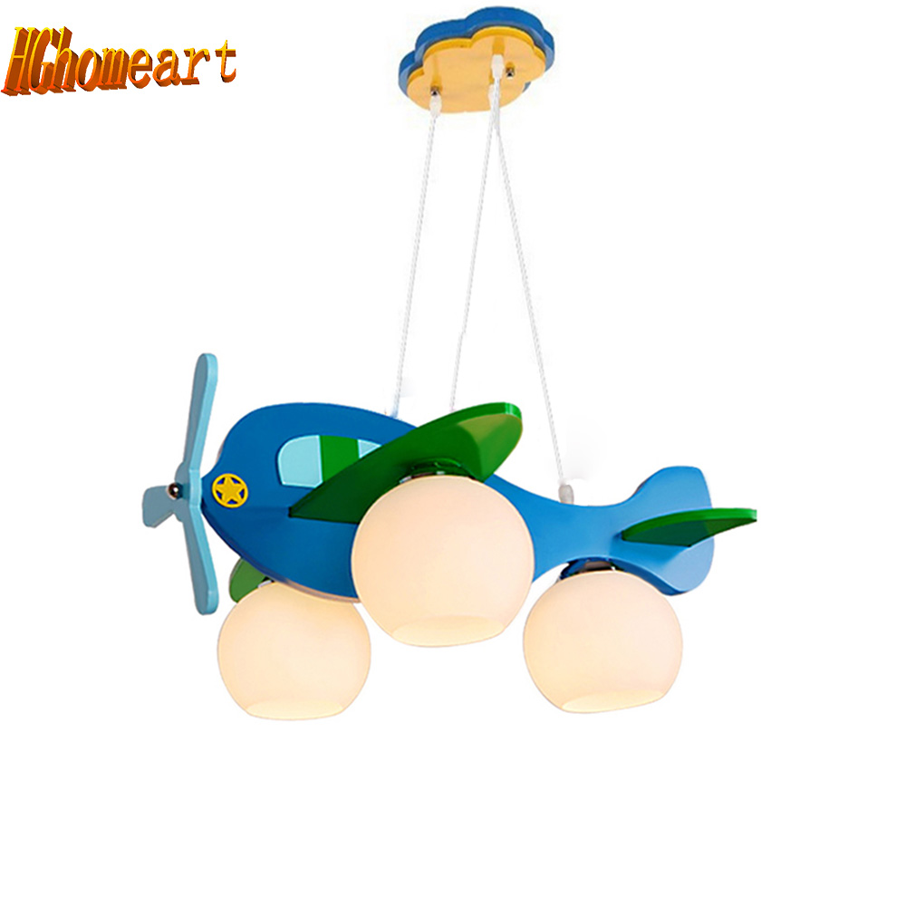 Hghomeart 3 heads Aircraft Led Pendant Lights Glass Boy Room Cartoon Modern Pendant Light Wood Lamp E27 LED  Acrylic Suspension hghomeart children room aircraft led pendant lights antique pendant light boy bedroom eye lamp study led creative ceiling lamps