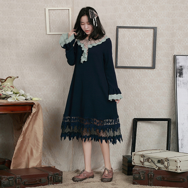 00cdca3f5f Japanese Autumn Winter Women s Lace Peter Pan Collar Long Sleeve Lolita Dress  Retro Mori Girl Pullover Dress Vestidos Tunique