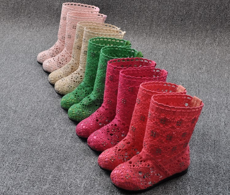 (A241)18 Classical Kids Shoes Summer Girls Boots Knitting Hollow Children Shoes Fashion Network Boots For Girls 30