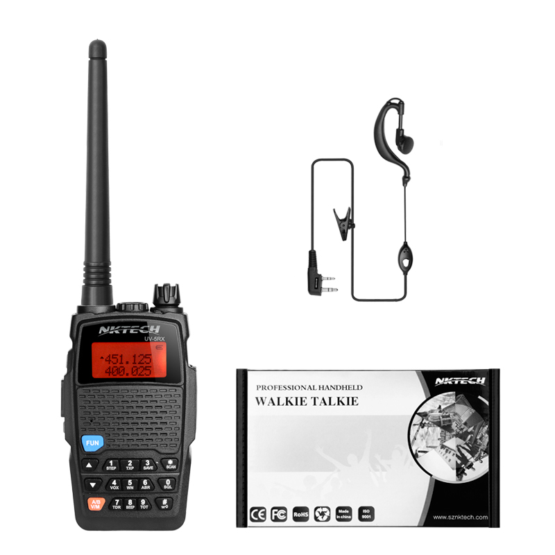 NKTECH UV-5RX VHF UHF 3200mAh Battery 1W//5W Transceiver Two Way Radio Dual Band